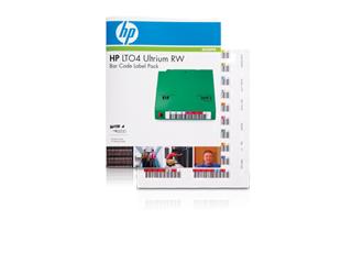 Strichcode-Etiketten-Pack für HPE LTO-4 Ultrium-Read/Write-Datenkassetten Center facing