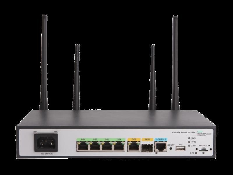 Routeur HPE MSR954-W 1GbE SFP LTE (Amérique) 2GbE-WAN 4GbE-LAN sans fil 802.11n CWv7 Center facing