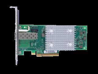 HPE StoreFabric SN1100Q 16Gb単一ポートファイバーチャネルホストバスアダプター Left facing