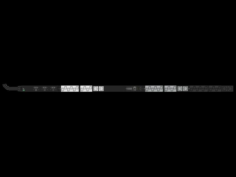 Unité de distribution électrique HPE G2 avec mesure intégrée, triphasée, 10 kVA/CS8365C, prises 35 A/208 V (30) C13 (6) C19/Vertical (Amérique du nord/Japon) Center facing