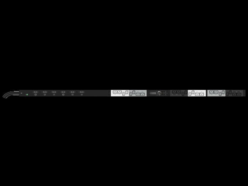 Unité de distribution électrique HPE G2 avec mesure et commutation intégrées, triphasée, 17,3 kVA/60309, 4 fils, prises 48 A/208 V (12) C13 (12) C19/Vertical (Amérique du nord/Japon) Center facing