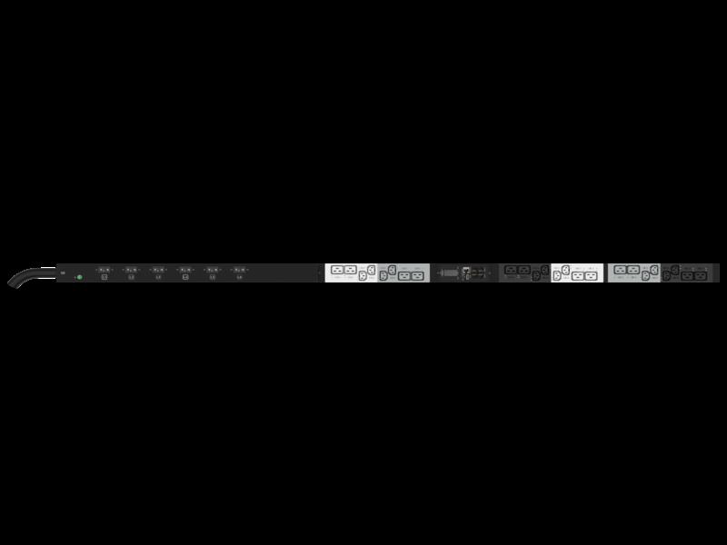 Unité de distribution électrique HPE G2 avec mesure et commutation intégrées, triphasée, 14,4 kVA/CS8365C, prises 40 A/208 V (12) C13 (12) C19/Vertical (Amérique du nord/Japon) Center facing