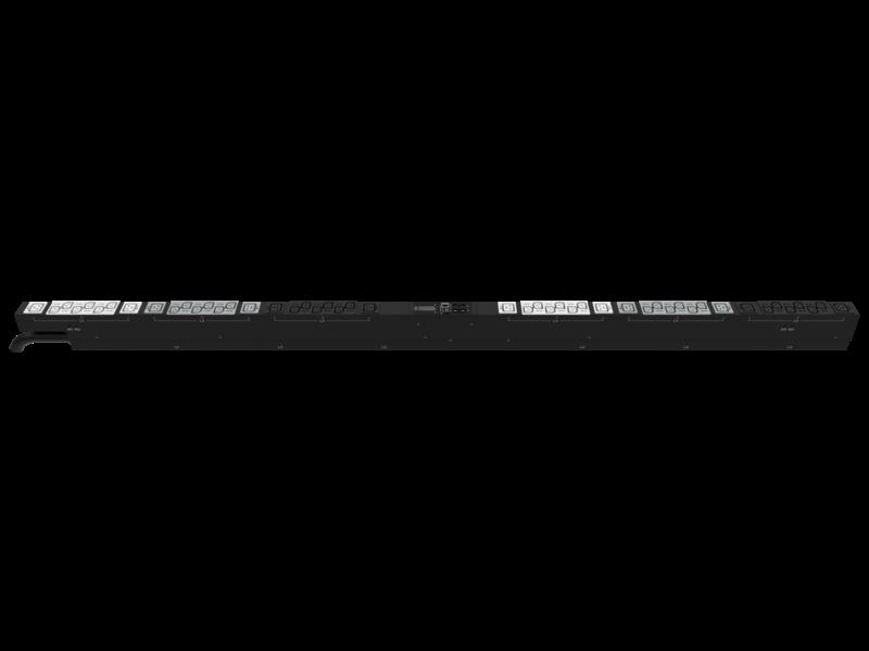 Unité de distribution électrique HPE G2 avec mesure intégrée, triphasée, 17,3 kVA/60309, 60 A, 4 fils, prises 48 A/208 V (36) C13 (12) C19/Vertical (Amérique du nord/Japon) Right facing