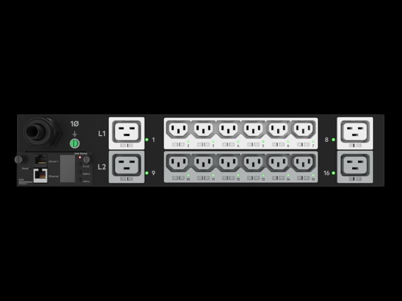 HPE G2 Switched 4.9kVA/L6-30P 24A/208V Outlets (12) C13 (4) C19/2U Horizontal NA/JP PDU Center facing