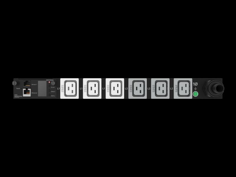 Unité de distribution électrique modulaire HPE G2 avec mesure intégrée, 4,9 kVA/L6-30P, prises 24 A/208 V (6) CEI C19/1U, montage horizontal (Amérique du nord/Japon) Detail view