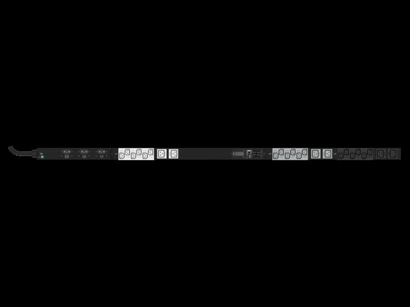 Unité de distribution électrique HPE G2 avec mesure intégrée, triphasée, 8,6 kVA/L15-30P, prises 24 A/208 V (18) C13 (6) C19/Vertical (Amérique du nord/Japon) Center facing
