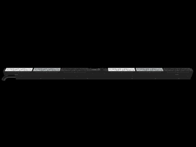Unité de distribution électrique HPE G2 avec mesure et commutation intégrées, triphasée, 17,3 kVA/60309, 4 fils, prises 48 A/208 V (36) C13 (12) C19/Vertical (Amérique du nord/Japon) Right facing