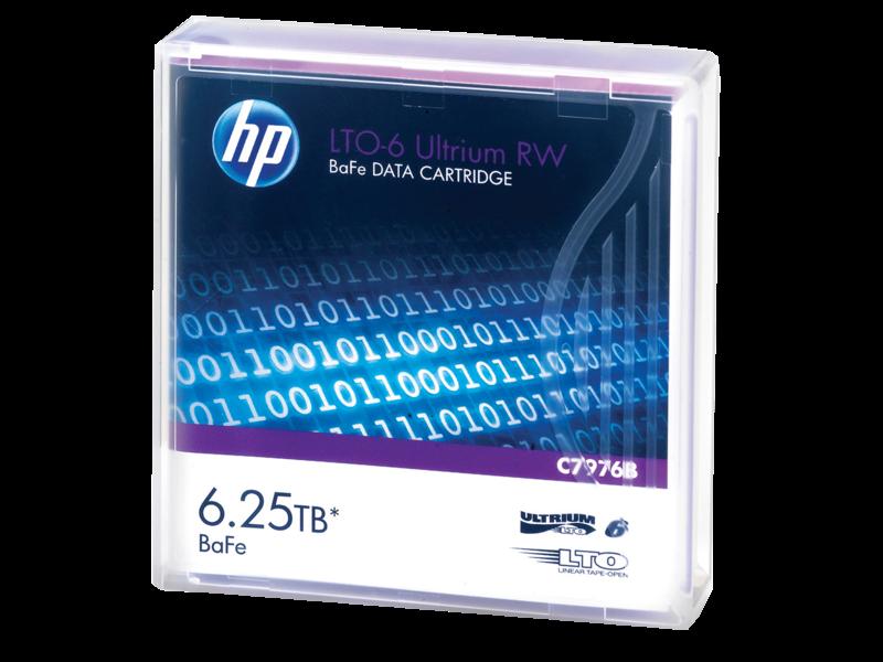 HPE LTO-6 Ultrium 6.25TB BaFe RW Data Cartridge Left facing