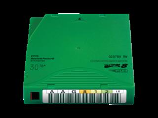 HPE LTO-8 Ultrium 30TB RW Data Cartridge Right facing