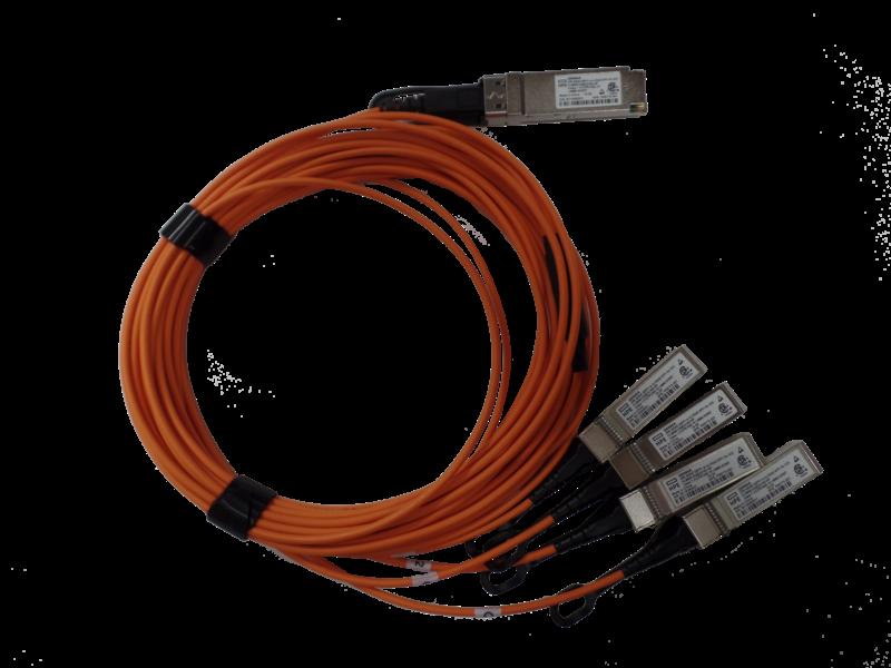 HPE 40Gb QSFP+ 转 4x10Gb SFP+ 10 米有源光缆 Center facing