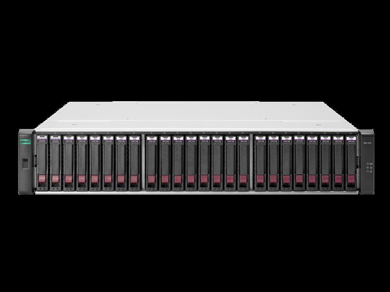 HPE MSA 1040 2-port Fibre Channel Dual Controller SFF Storage Center facing