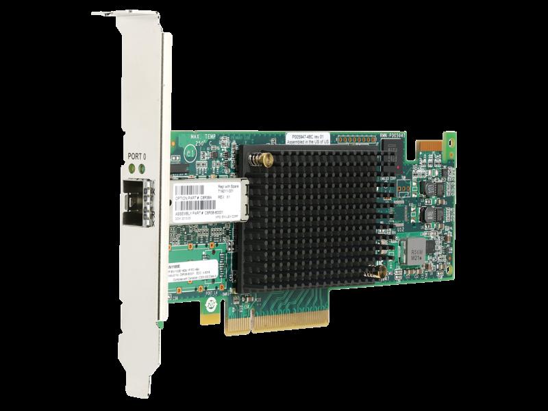HPE StoreFabric SN1100E 16Gbシングルポートファイバーチャネルホストバスアダプター Right facing