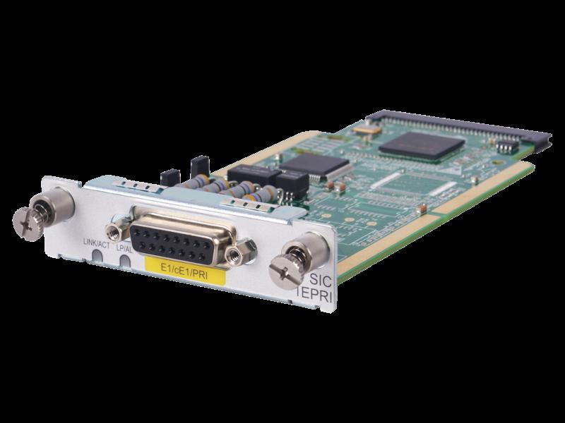 HPE FlexNetwork MSR 1-port E1/CE1/PRI SIC Module Left facing