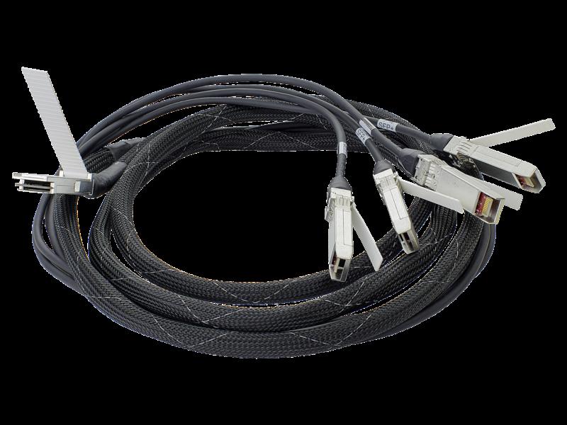 Câble répartiteur en cuivre à connexion directe HPE BladeSystem, classe C, 40G QSFP+ vers 4x10G SPF+, 3 m Center facing