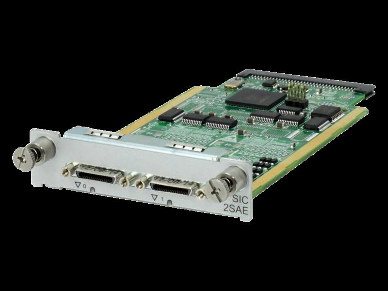 HPE FlexNetwork MSR 2-port Enhanced Sync/Async Serial SIC Module Left facing