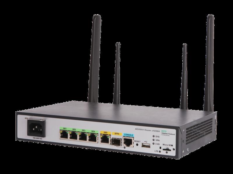HPE MSR954-W 1GbE SFP LTE (AM) 2GbE-WAN 4GbE-LAN Wireless 802.11n CWv7 Router Left facing