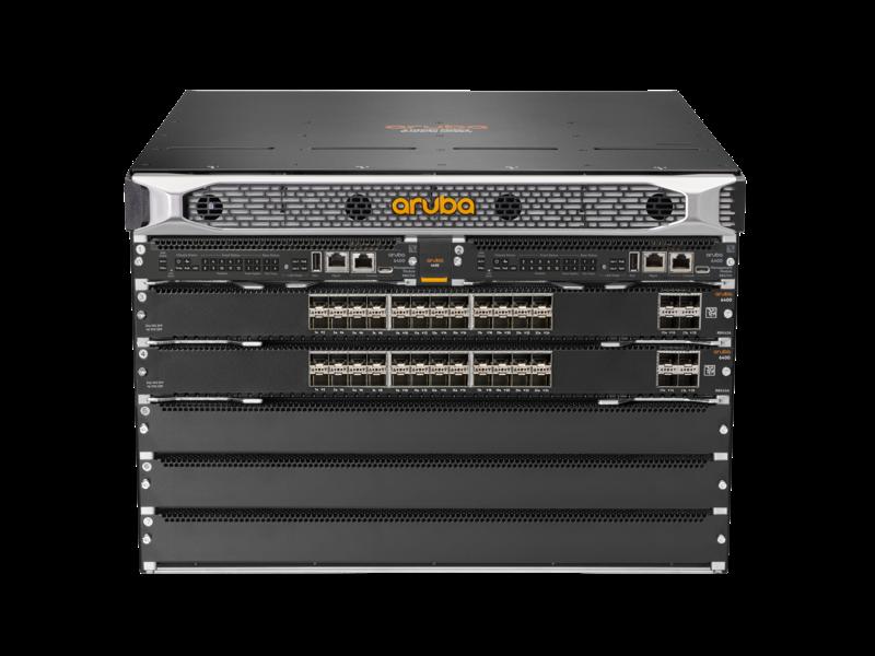 Conmutador Aruba 6405 con 48 puertos SFP+ y 8 puertos SFP56 Center facing