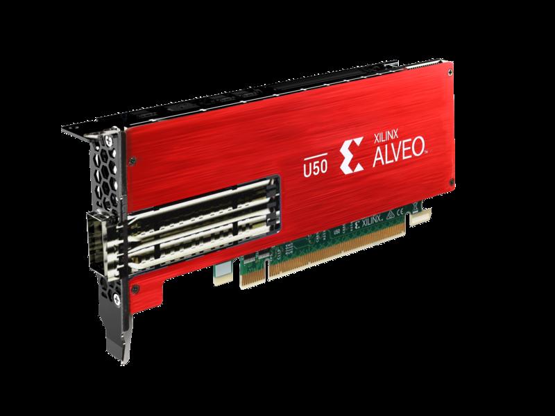 Xilinx Alveo U50 加速器 Left facing