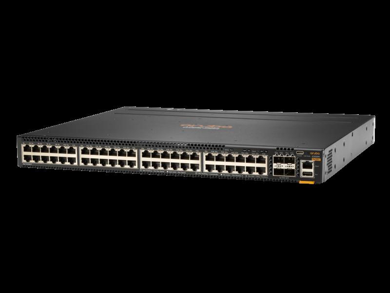 Aruba 6300M 48 端口 1 千兆以太网和 4 端口 SFP56 电源到端口双风扇托盘 1 PSU 捆绑包 Left facing