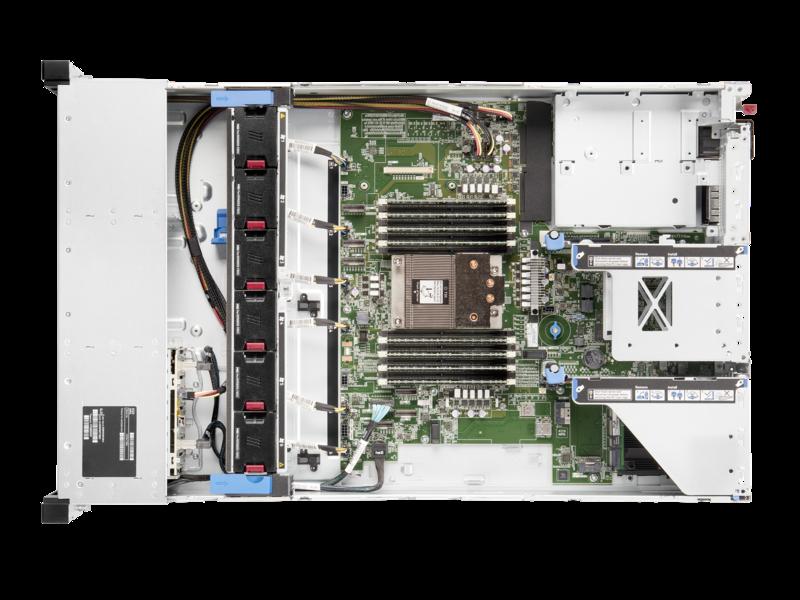 Serveur HPE ProLiant DL345 Gen10 Plus 7232P 3.1GHz 8 cœurs 1P 32GO-R 8 lecteurs à grand facteur de forme Module d'alimentation 500 W Top view open