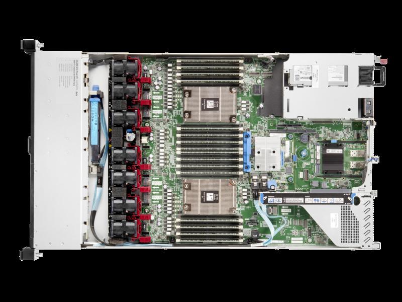 Serveur HPE ProLiant DL365 Gen10 Plus 7262 3.2 GHz 8 cœurs 1 Processeur 32GO-R 8 lecteurs à petit facteur de forme Module d'alimentation 500 W Top view open