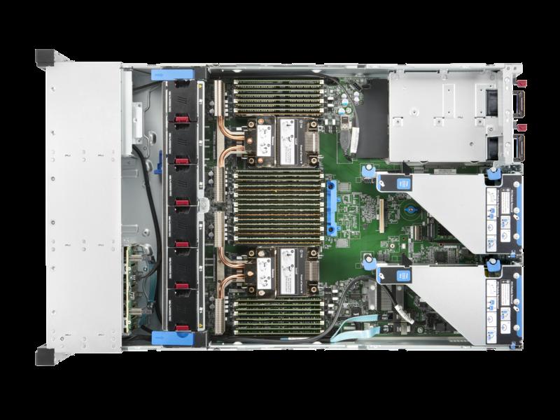 Serveur HPE ProLiant DL380 Gen10 Plus 4314 2.4 GHz 16 cœurs 1 processeur 32 Go-R P408i-a NC BCM57412 8 lecteurs à petit facteur de forme Module d'alimentation 800 W Top view open